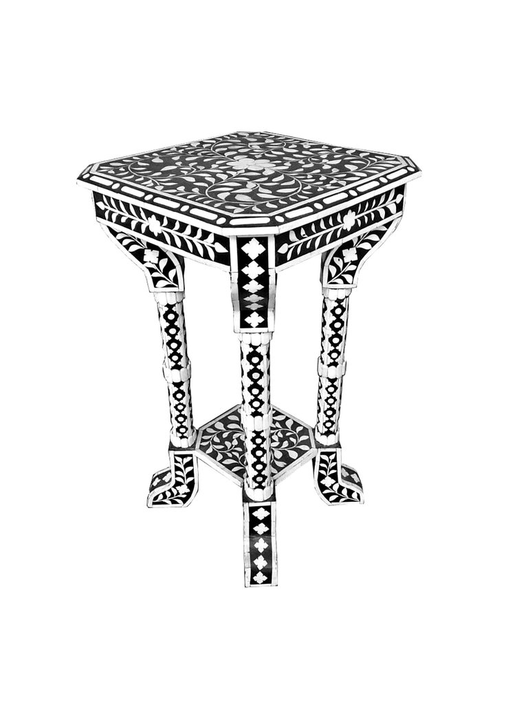 floral pattern bone inlay accent table favors handicraft wood metal side small console desk dale tiffany lamp shades mirrored with drawer razer mouse ouroboros glass top coffee