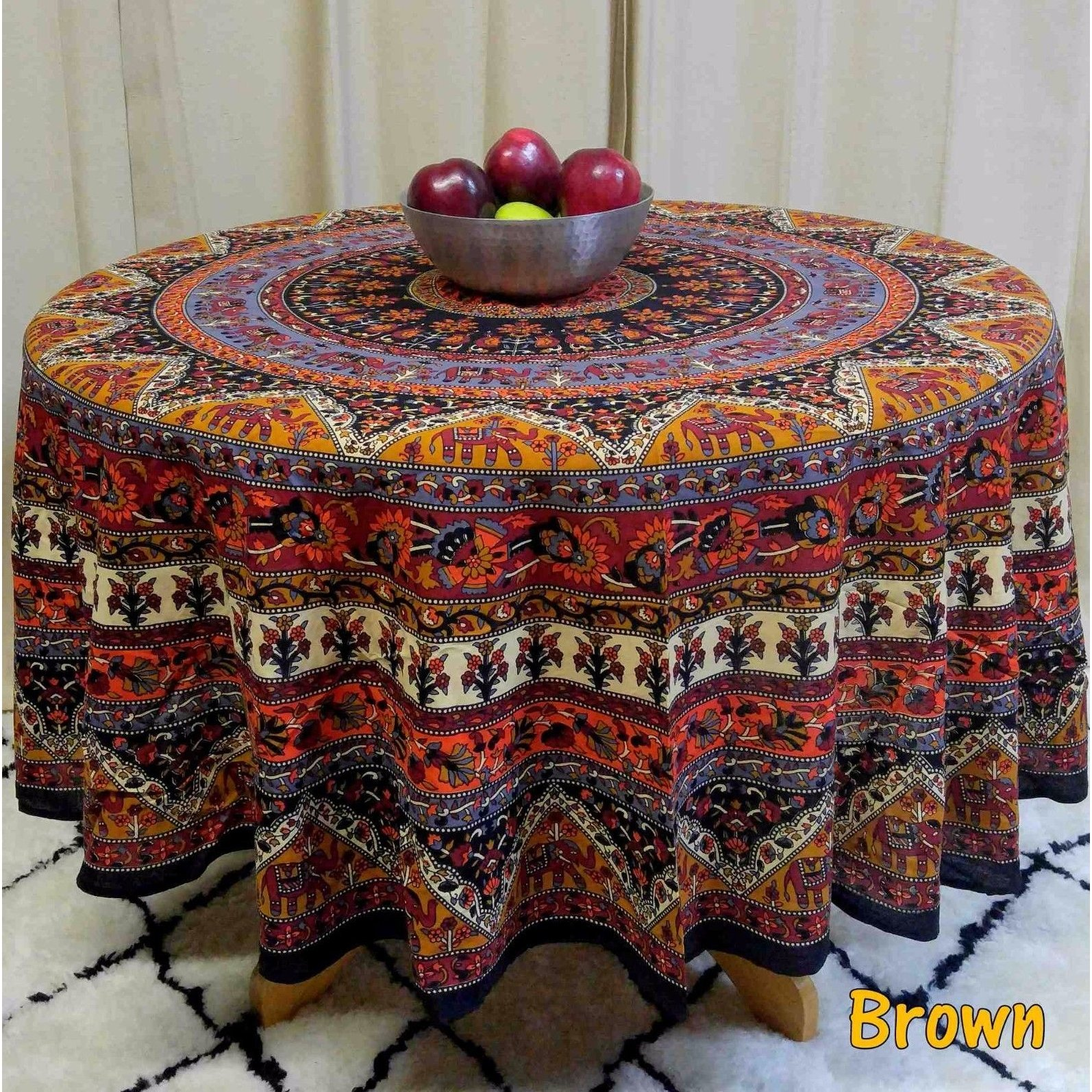 floral tablecloths our best table handmade mandala and elephant printed cotton tablecloth available red blue brown two sizes round accent cloths linens decor black marble top
