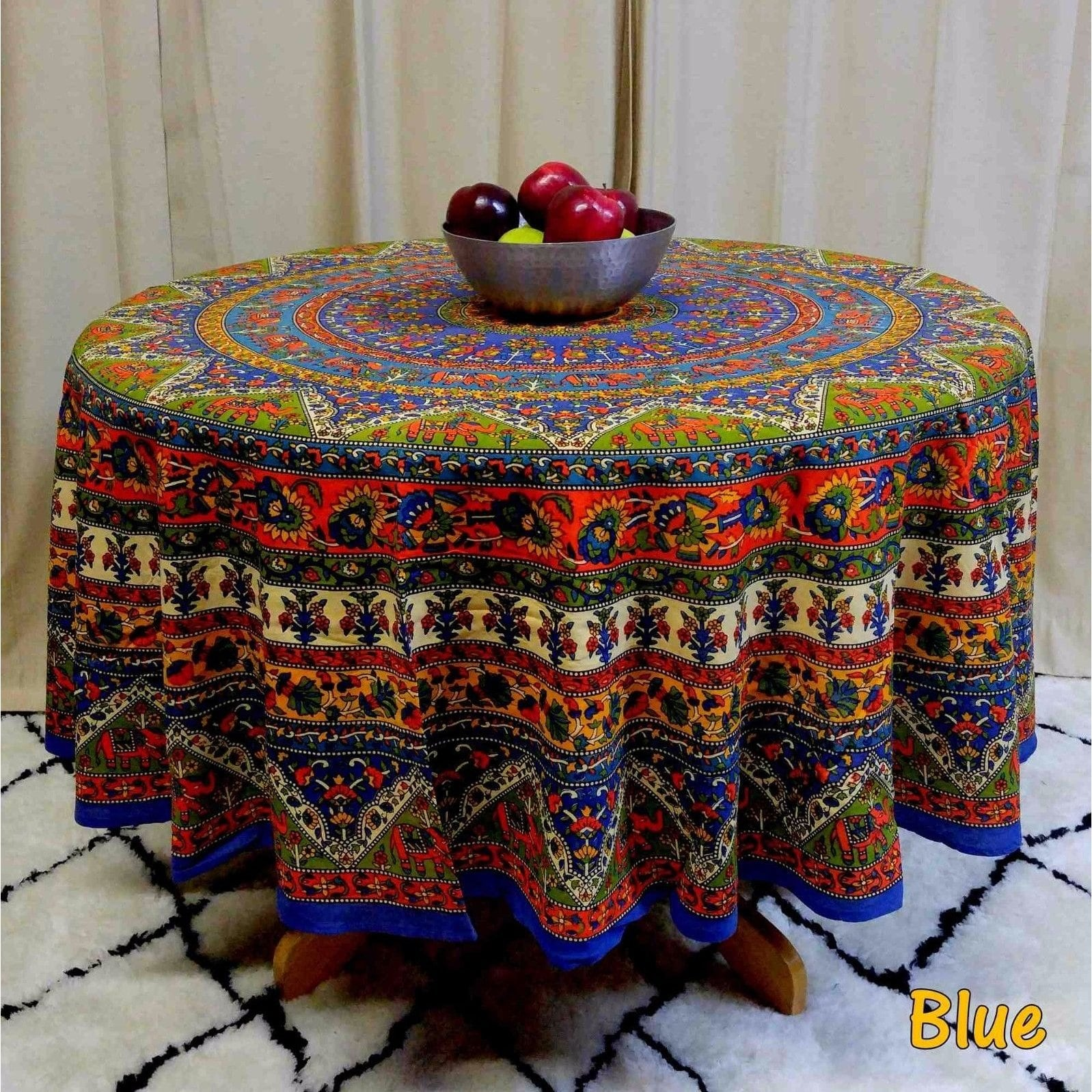 floral tablecloths our best table handmade mandala and elephant printed cotton tablecloth available red blue brown two sizes round accent cloths linens decor tall narrow entryway
