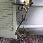 florentine garden round glass top table kensington row collection accent bronze iron with brass medallions thin white console wedge shaped end small low foyer metal nightstand 150x150