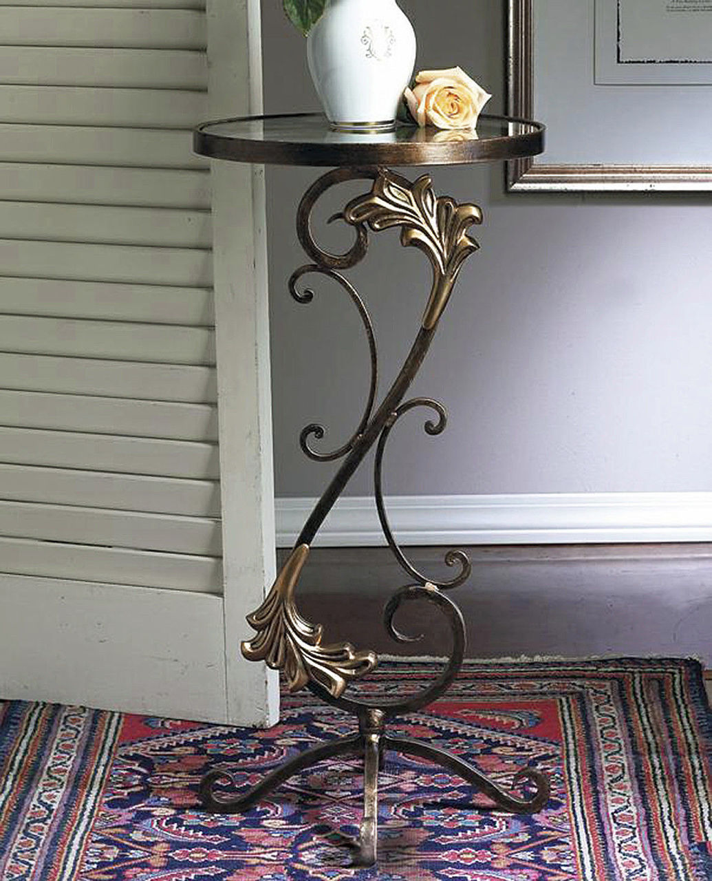 florentine garden round glass top table kensington row collection accent bronze iron with brass medallions thin white console wedge shaped end small low foyer metal nightstand