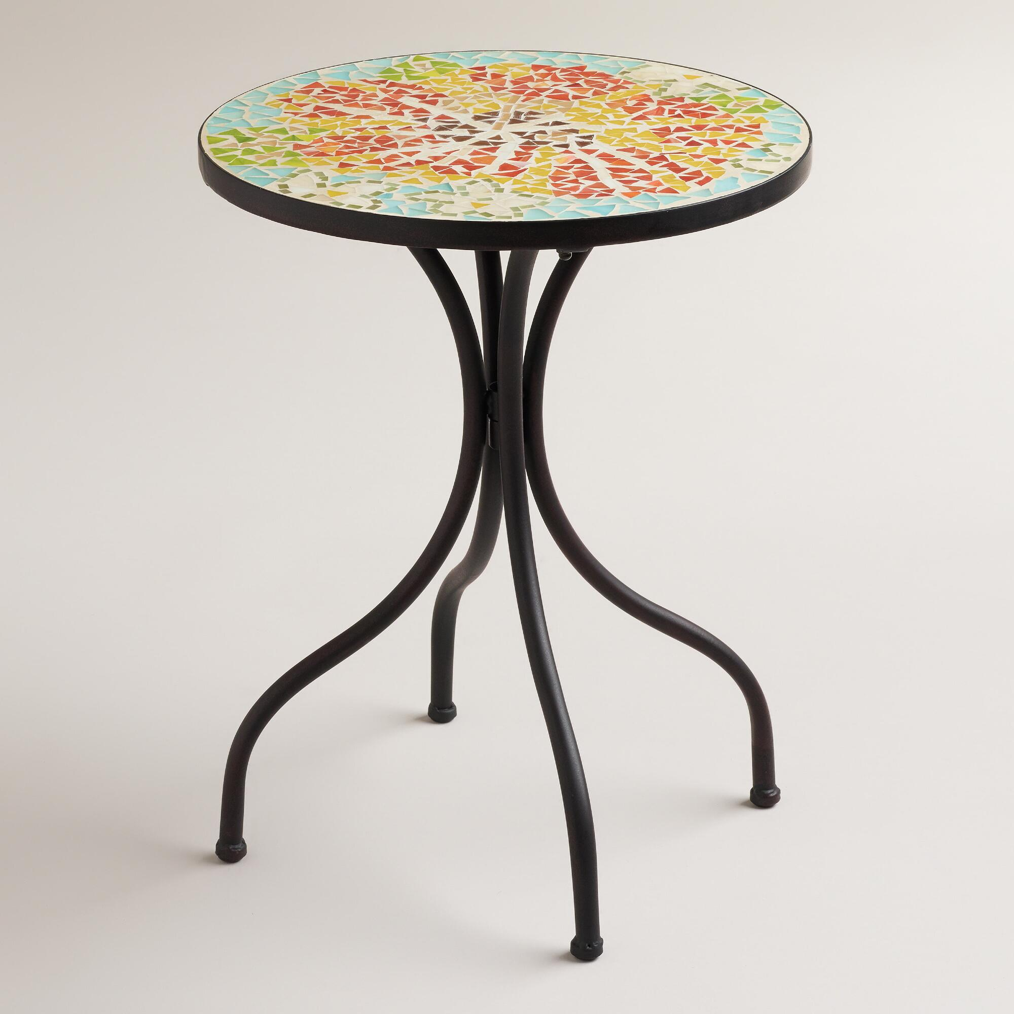 flower cadiz mosaic accent table world market gold kohls sunflower dining room furniture trestle union jack mirrored console cabinet bedside ideas cordless battery lamp steel mesh