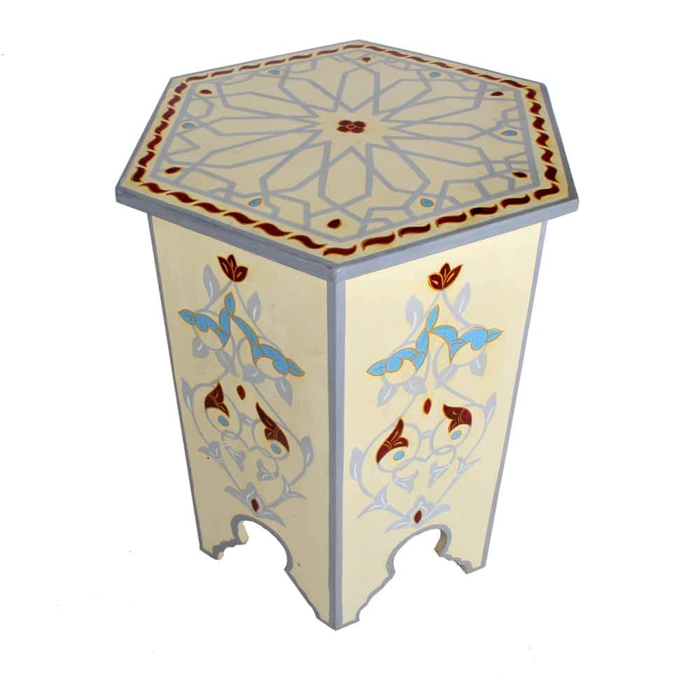 flower handpainted moroccan accent end table nightstand night stand furniture bazaar bedroom lamps mirrored bedside himym umbrella mid century modern dining patio chair covers