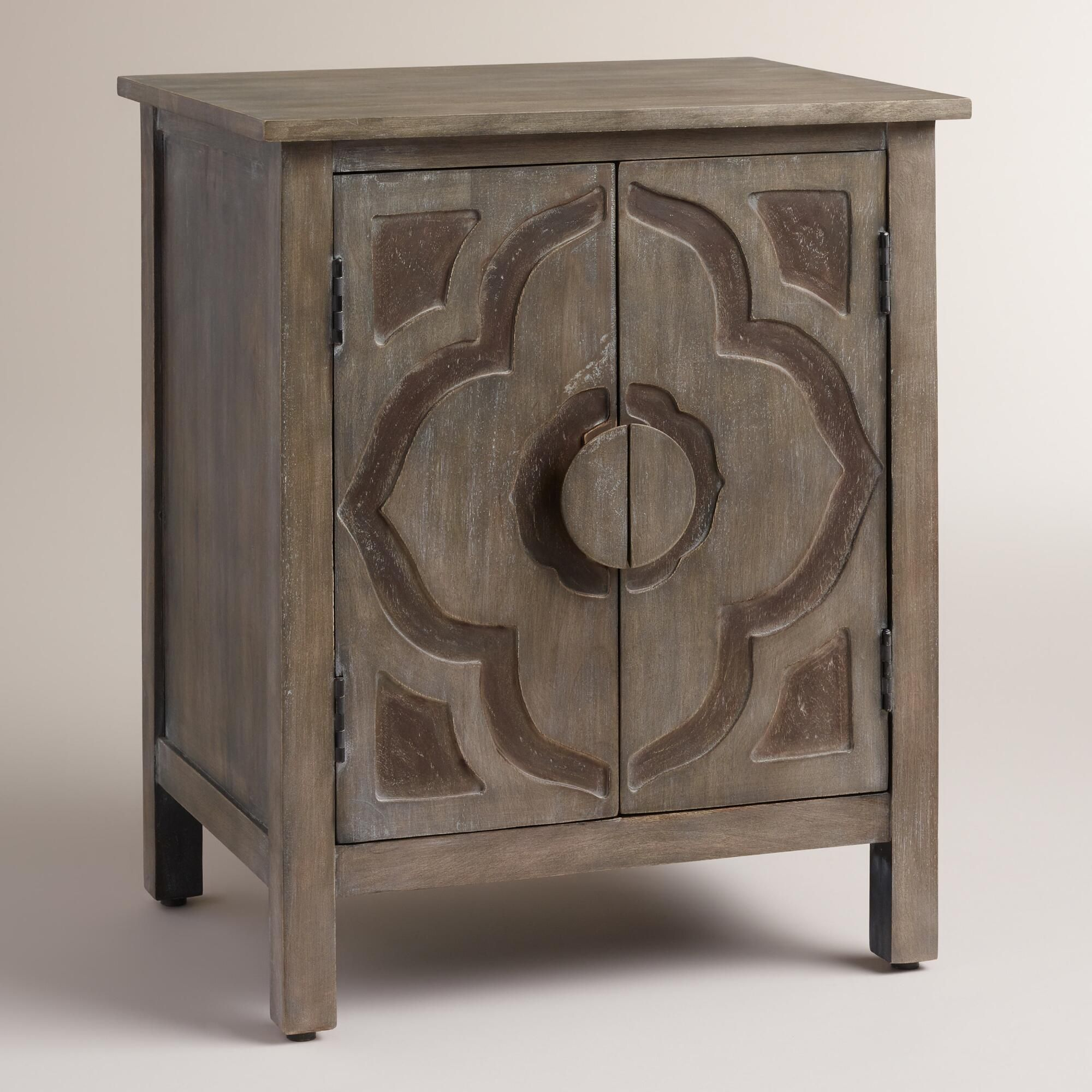 flowering lotus design carved into the handles and double doors linon galway accent table white featuring interior shelf drawer storage makes bohemian nightstand side art deco