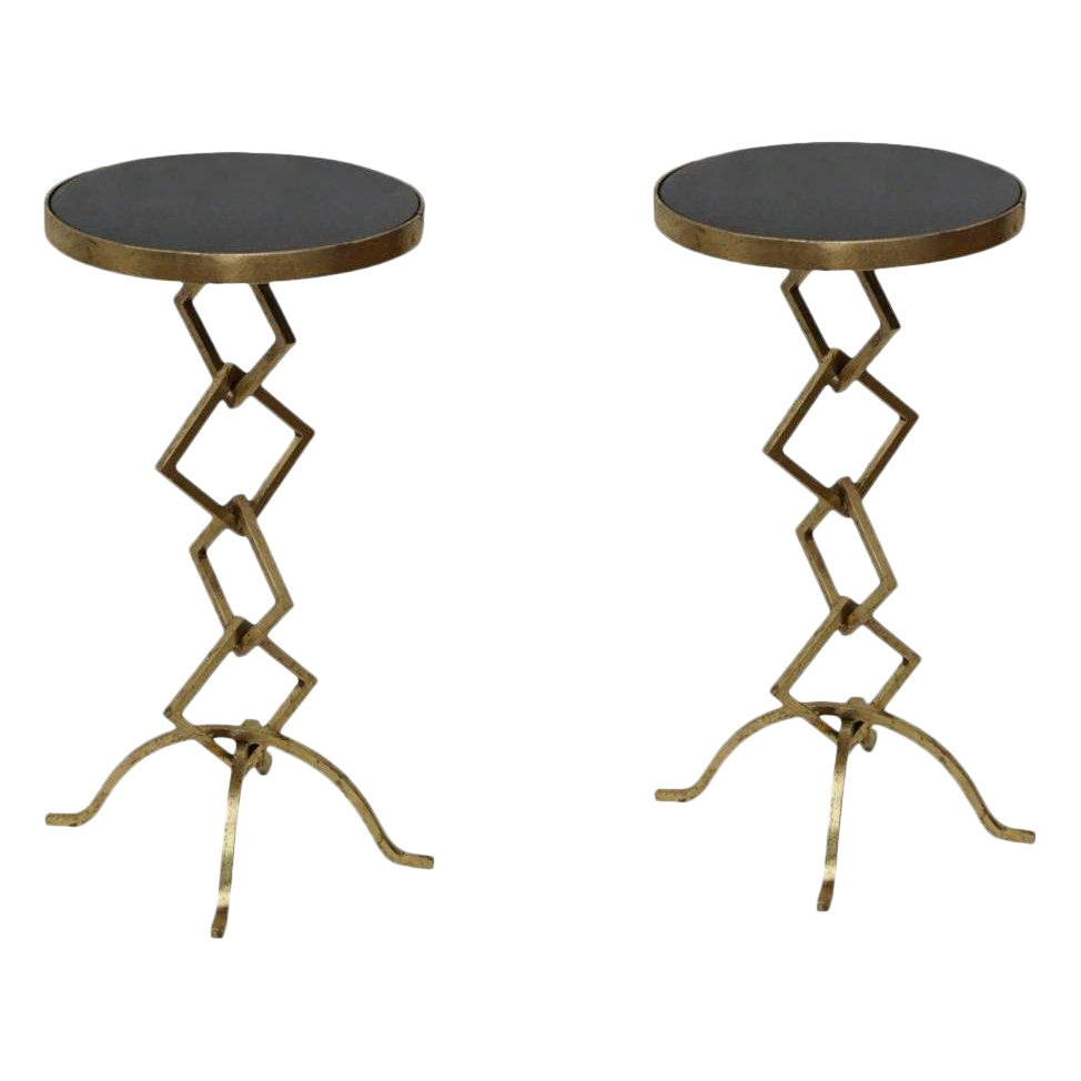 flynn accent side end table set living room granite top round contemporary style unique design gold leafing chairish trunk timber trestle legs short coffee colorful ikea small
