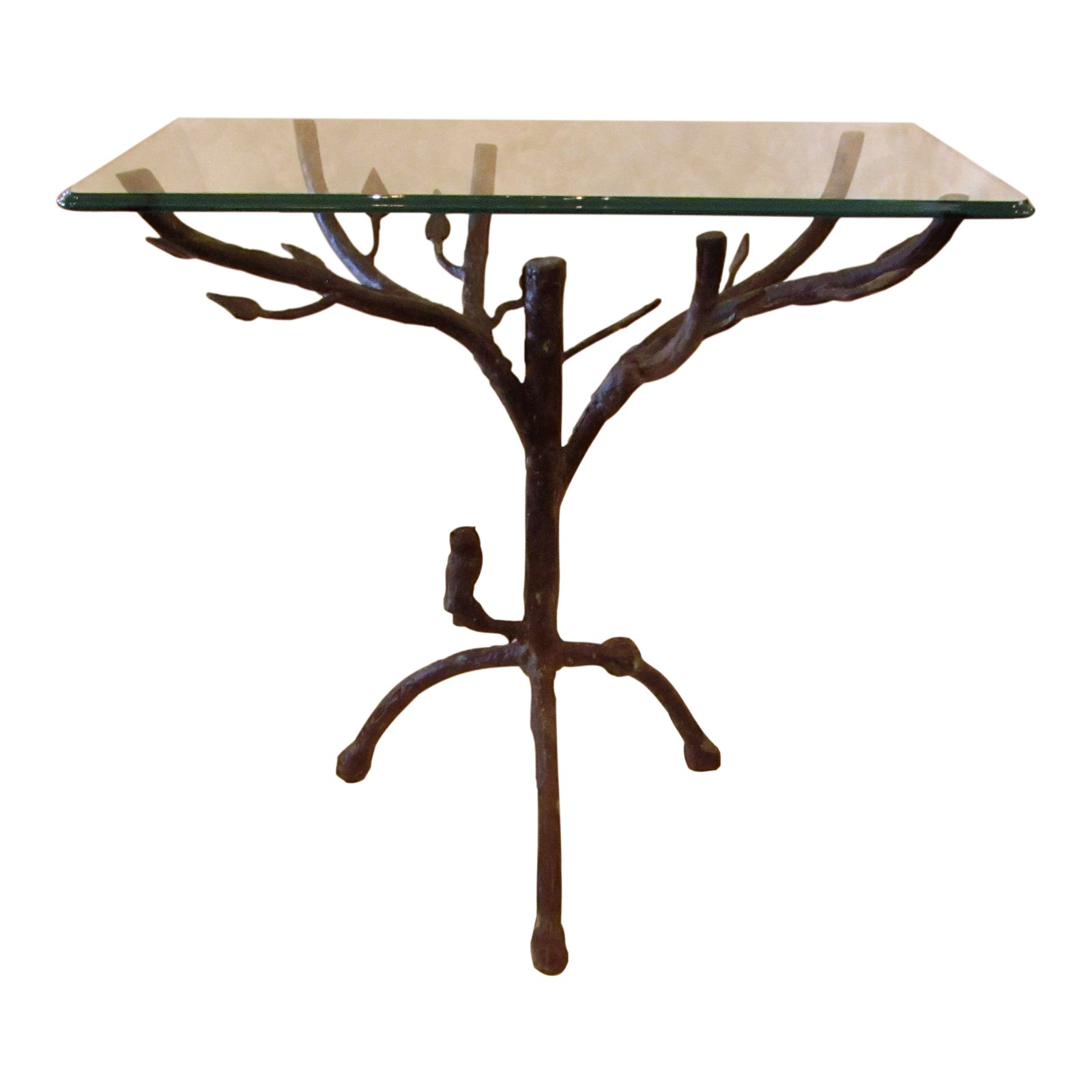 folk art branches metal glass top accent table chairish floor mirror entryway cabinet silver round target white and gold side cherry wood bedroom furniture real coffee end tables