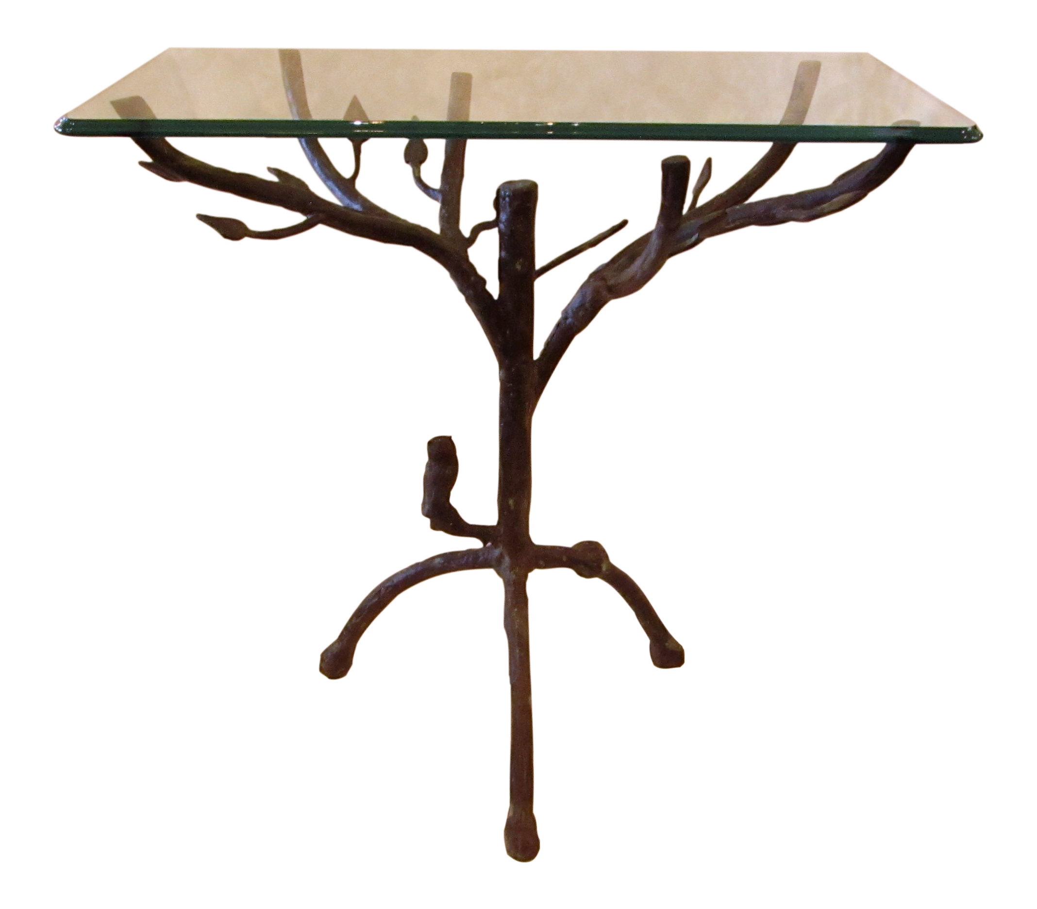 folk art branches metal glass top accent table chairish with small white round side door gold bamboo diy bar pottery barn leather armchair marble stone coffee contemporary end