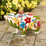 folk art frog table colorful painted metal plowhearth drum accent tables mission style dining hobby lobby furniture fitted round covers vinyl runner and placemats antique side 150x150