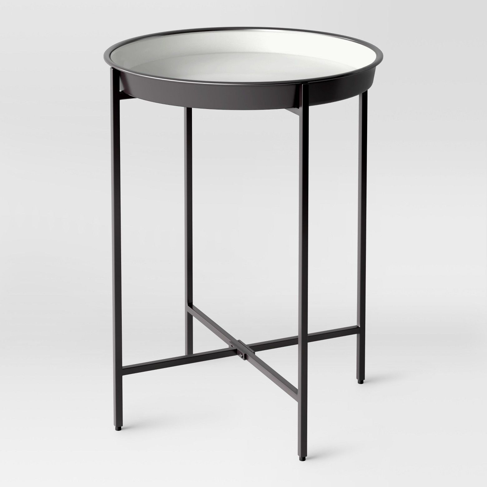 for some modern style that sure get noticed the tray black accent table project from this round features like top grill dome deck furniture west elm dining room lighting area rugs