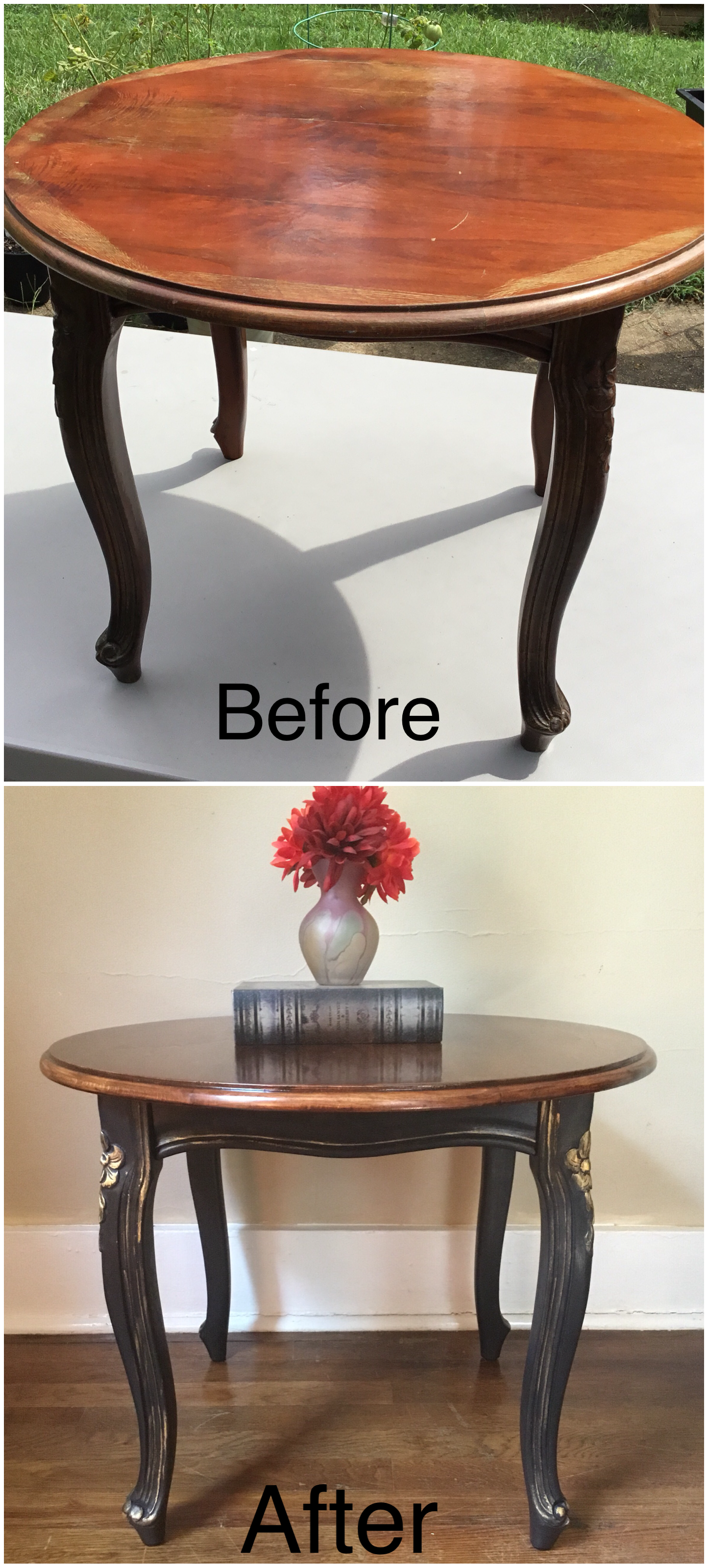 for vintage wood accent table this elegant has been refinished with dark distressed white battery operated lamps old style feature floor lamp target bedside brown living room