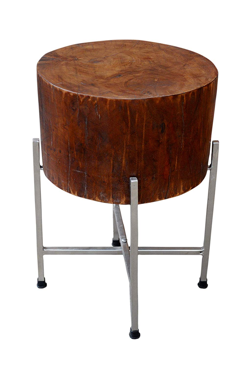 foreign affairs home decor solid mango wood accent table avani drum stan with cross leg silver stand polished inch block great oval farm marble top dining set half circle round