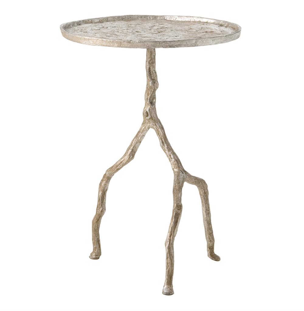 forest park silver hammered iron branch sculpted side outdoor accent metal table rod tables huge wall clock small triangular leick corner inch tall console gallerie furniture grey