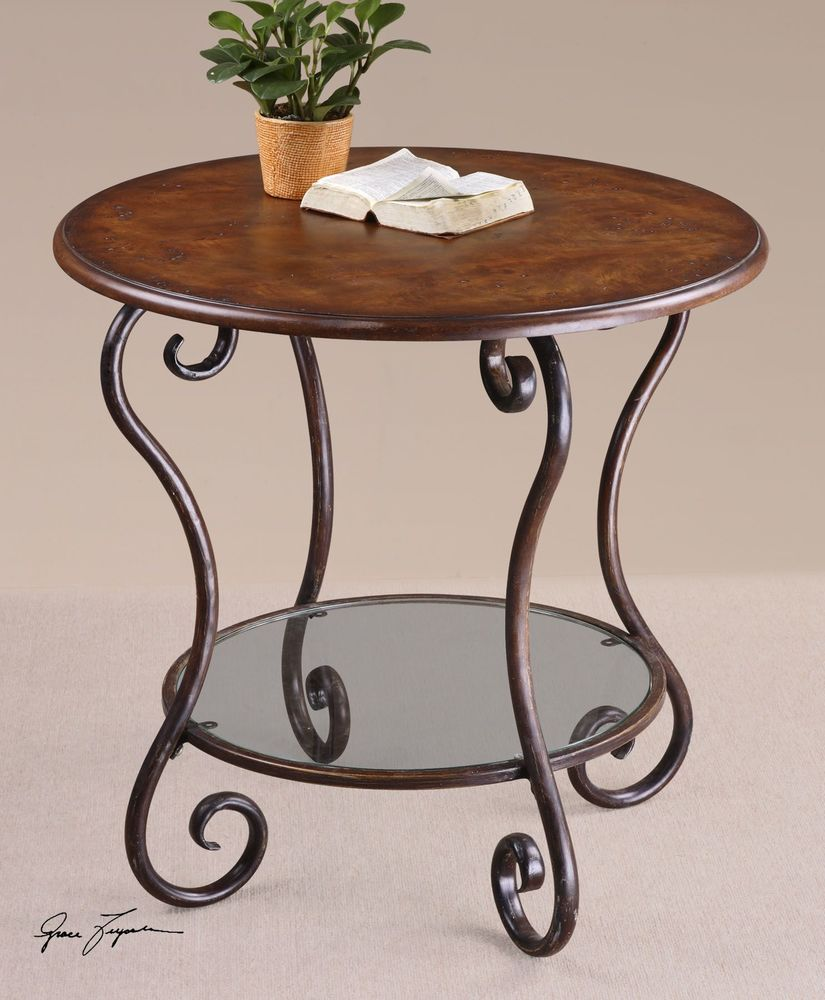 forged base accent table warm chestnut mathis brothers furniture grey occasional formal dining room keter beer cooler pottery barn glass side jcp shower curtains home goods tables