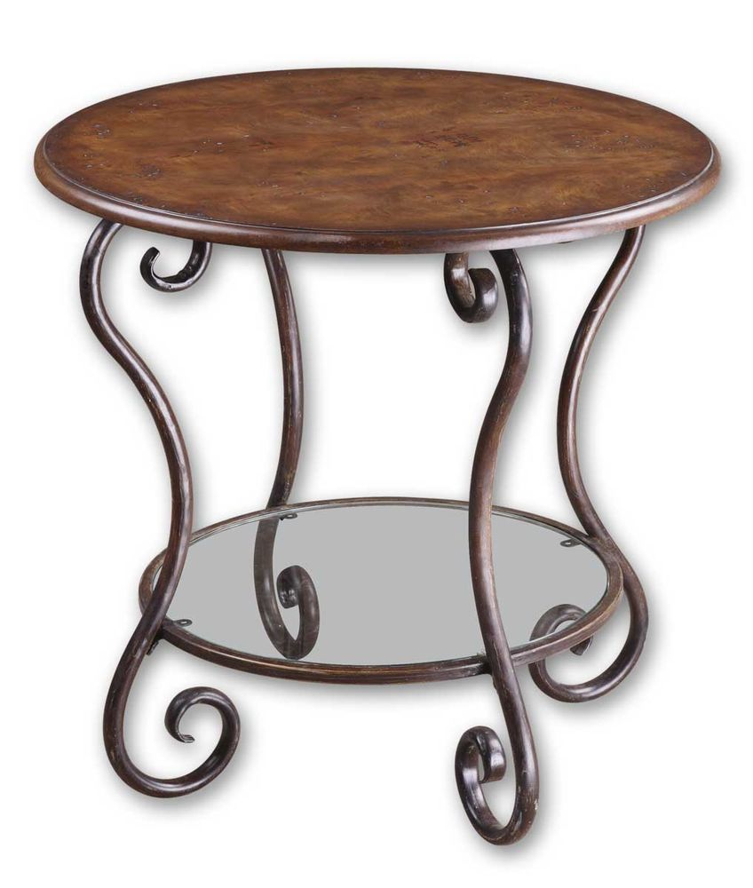 forged base accent table warm chestnut mathis brothers furniture keter beer cooler armless chair home goods tables tiffany crystal lamps dining room cupboard coloring tablecloth