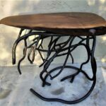 forged root metal table base and live edge black walnut wood etsy kyfy timor trunk accent bathroom vanities end with usb charger antique white coffee sets blue porcelain lamps 150x150