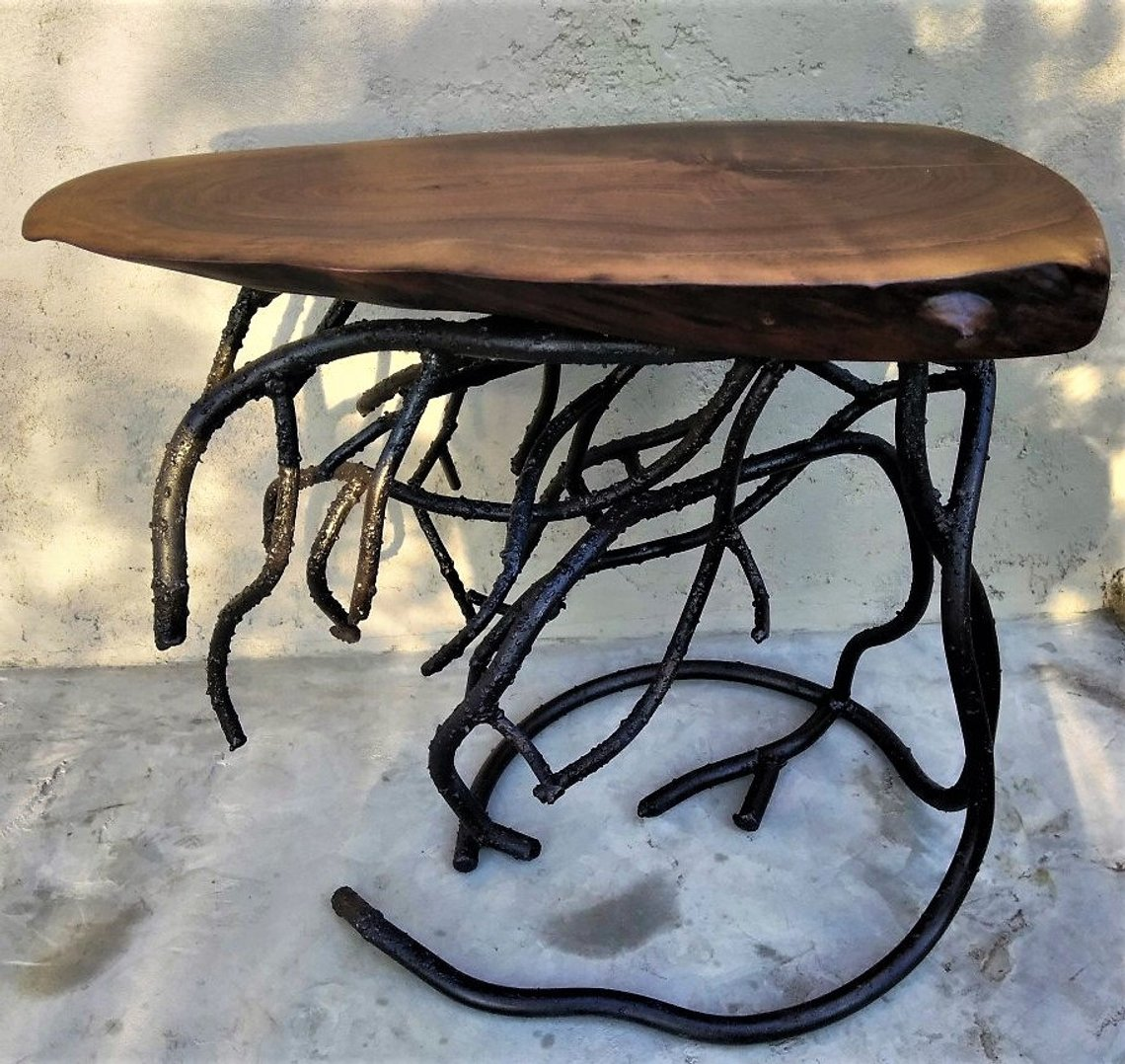 forged root metal table base and live edge black walnut wood etsy kyfy timor trunk accent bathroom vanities end with usb charger antique white coffee sets blue porcelain lamps