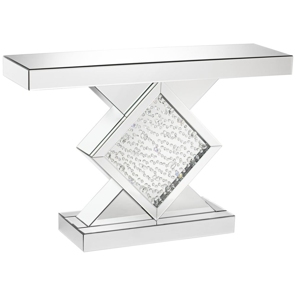 fostoria silver mirror wide crystal console table home diamond mirrored accent style tall glass lamp tables small narrow storage chest with drawers linens modern wooden coffee