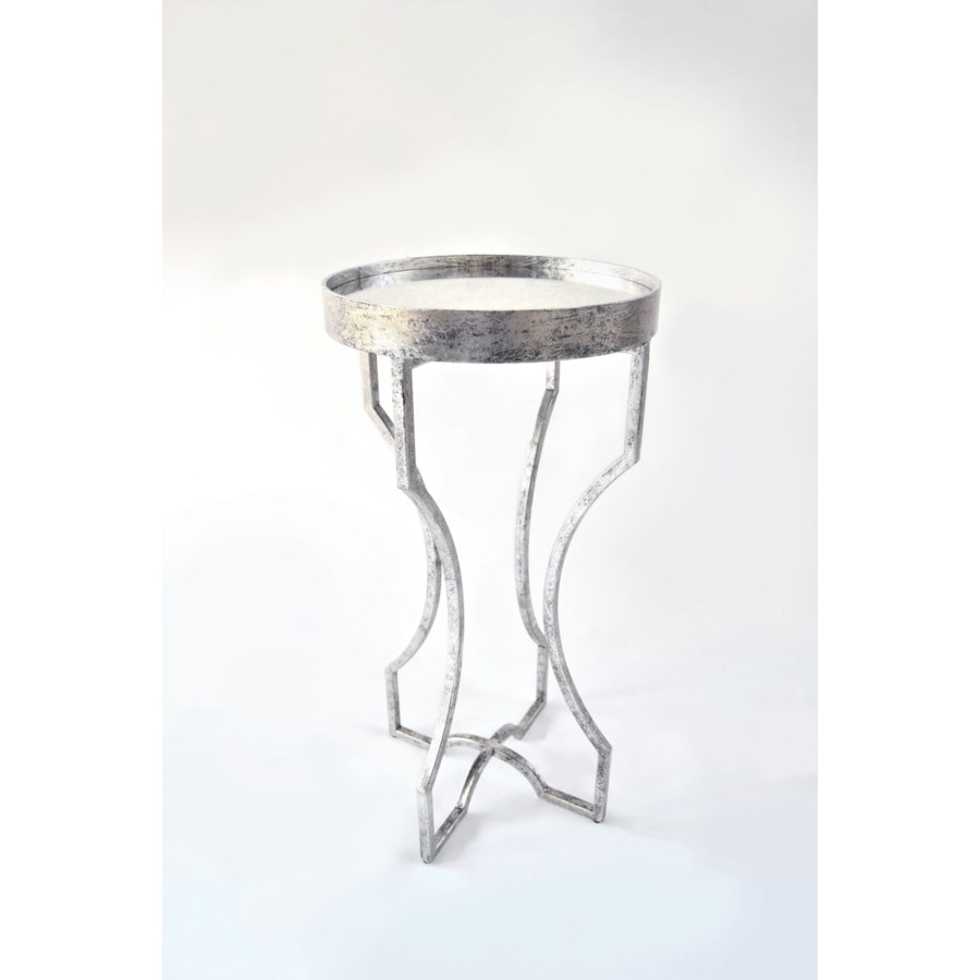 four legged accent table with antiqued mirror top silver leaf finish outdoor garden furniture carpet and tile separator butterfly lighting cylinder lamp set nesting tables mudroom