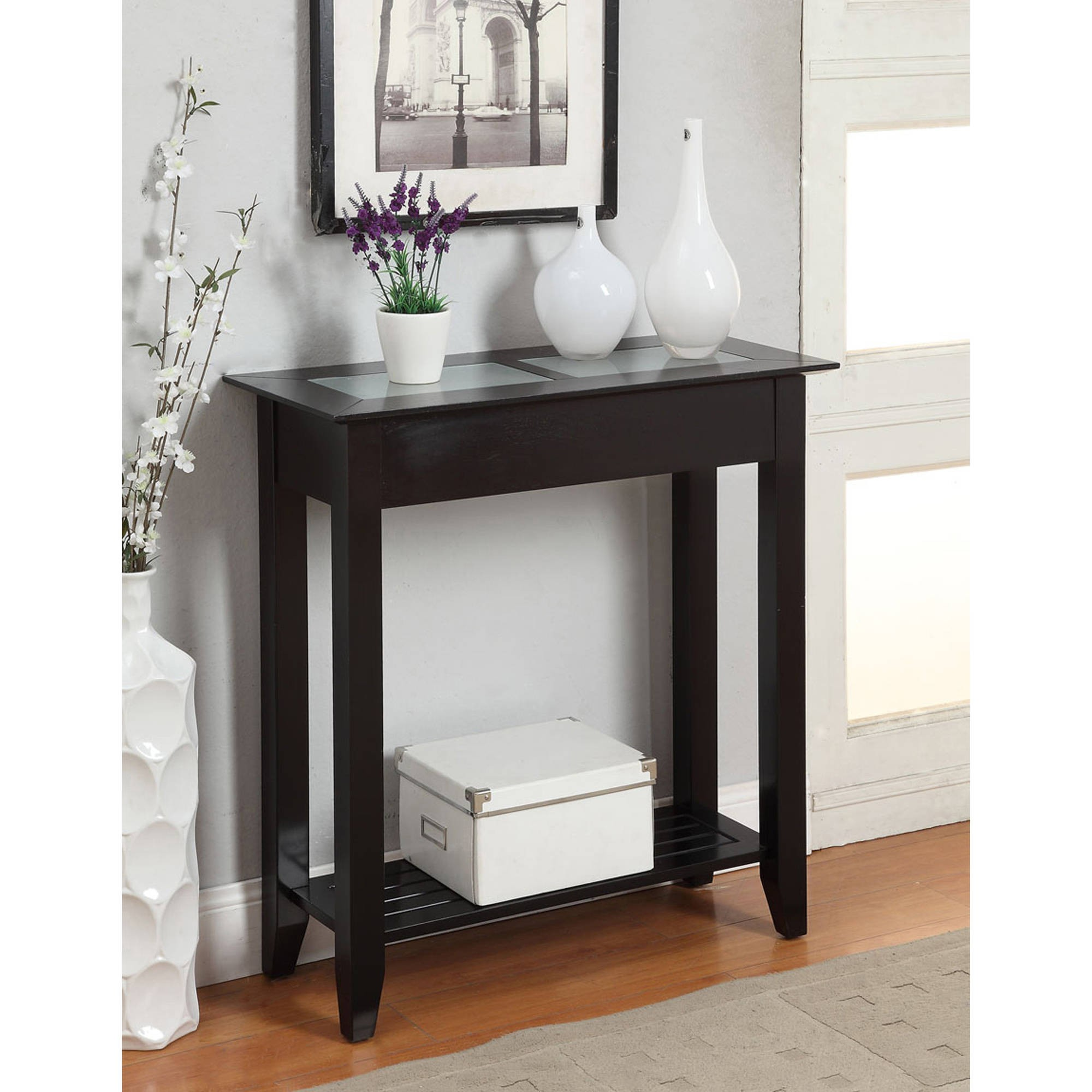 foyer accent tables webs dir info inspiring black carmel hallway table decorative raised panel bottom shelf frosted tempered glass inlay top attractive painted wood contemporary