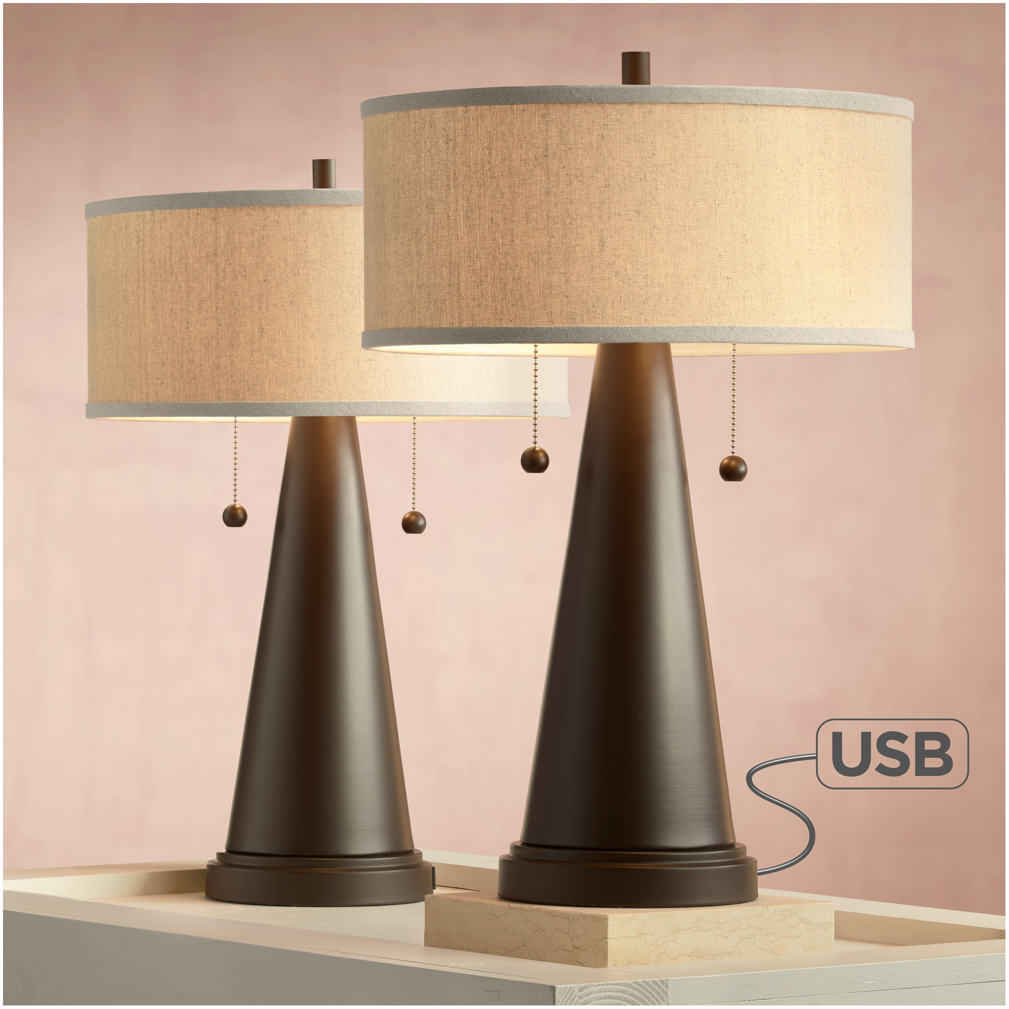 franklin iron works mid century modern accent table lamps set with usb port bronze metal natural linen drum shade for bedroom target makeup tablecloth round dining rustic gray