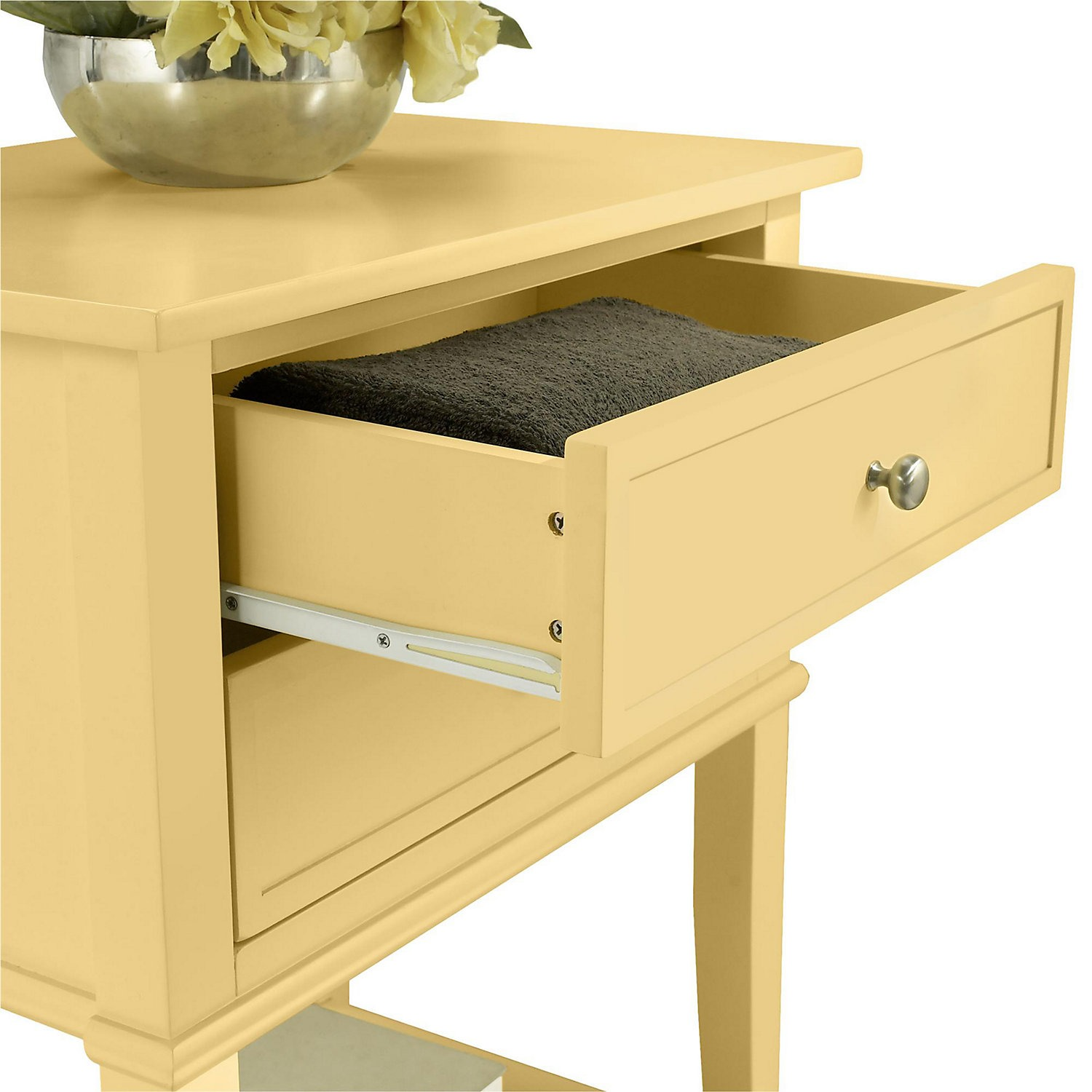 franklin yellow accent table gas grills circular glass side chest drawers christmas linen wood occasional tables bunnings storage cabinets hat stand patio furniture for small