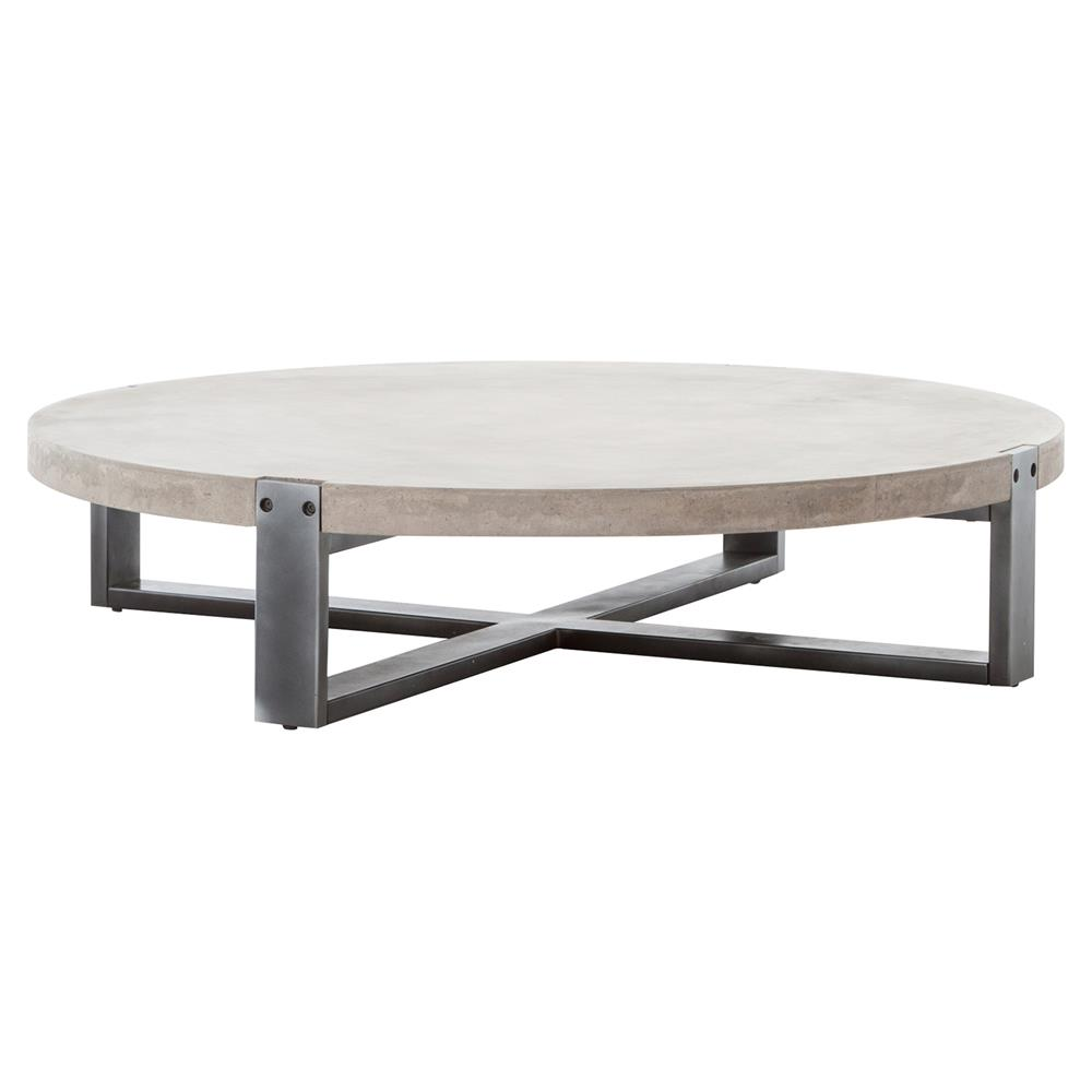 frantz loft modern grey concrete low round coffee table product height accent kathy kuo home black and end tables pottery barn pedestal side wrought iron patio furniture glass