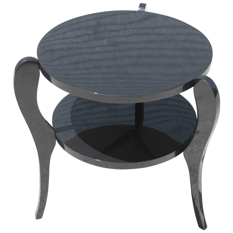 french art deco tri leg black lacquer two tier accent table circa master for hamilton bay patio furniture small antique folding replica retro beverage cooler side round mirrored