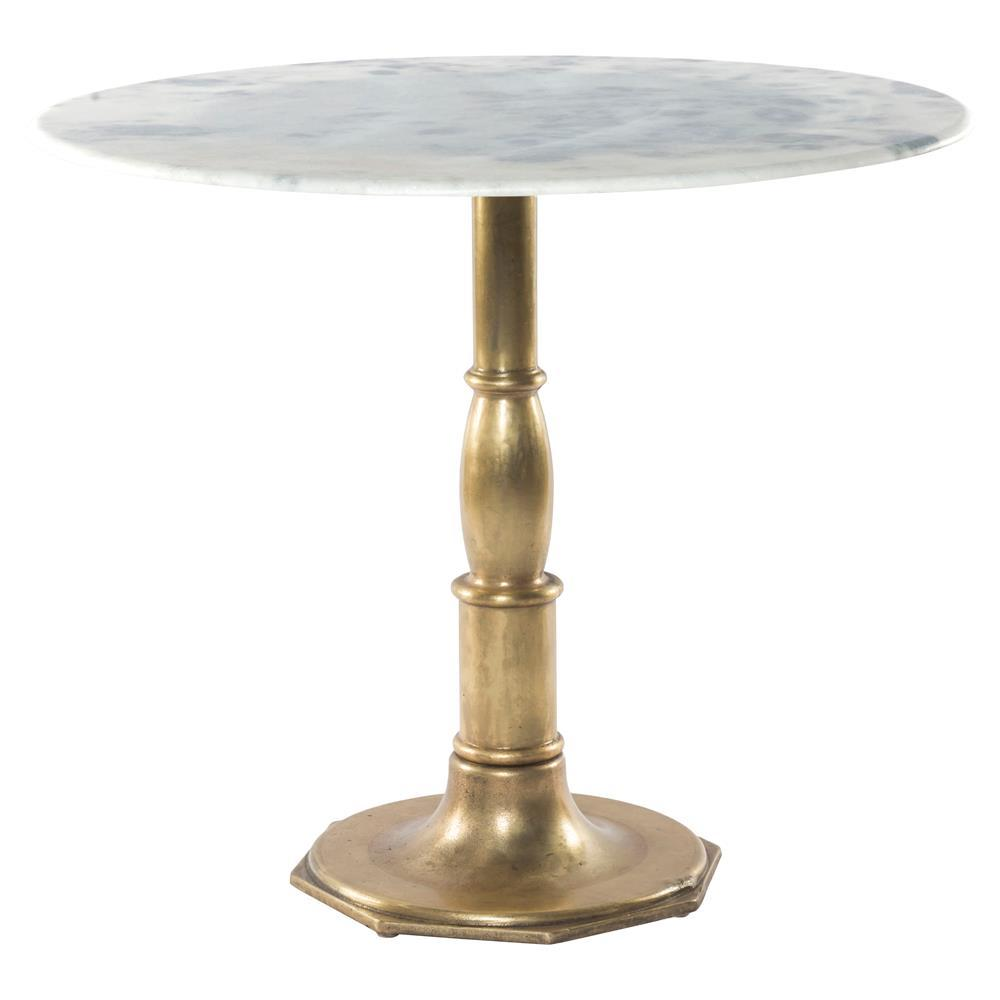 french bistro white marble brass pedestal round table zin home product accent trestle dimensions retro lounge furniture green living room trunk battery operated led lamps tall