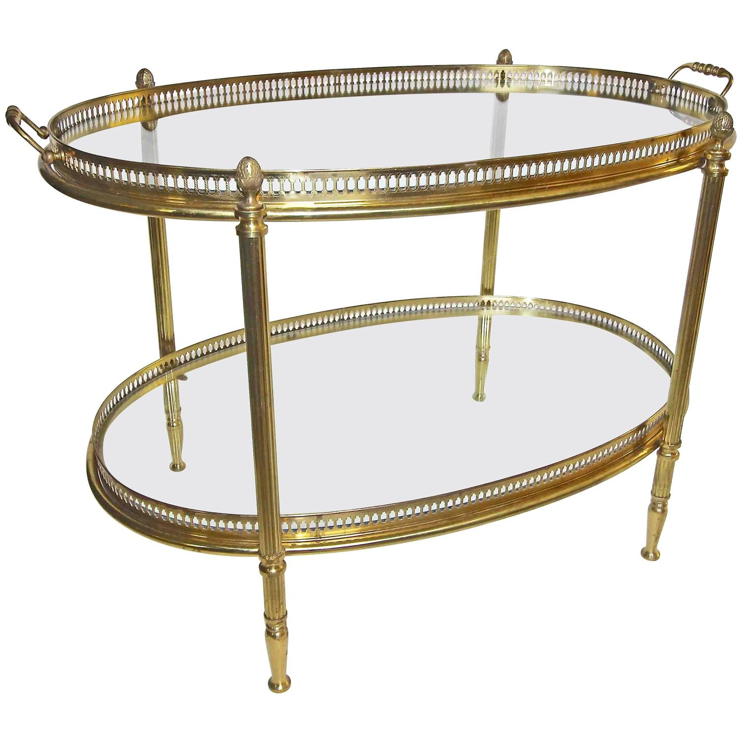 french brass oval two tier side table with removable tray for end bedroom nightstand ideas outdoor tables gold accent furniture used vancouver set ethan allen drop leaf coffee