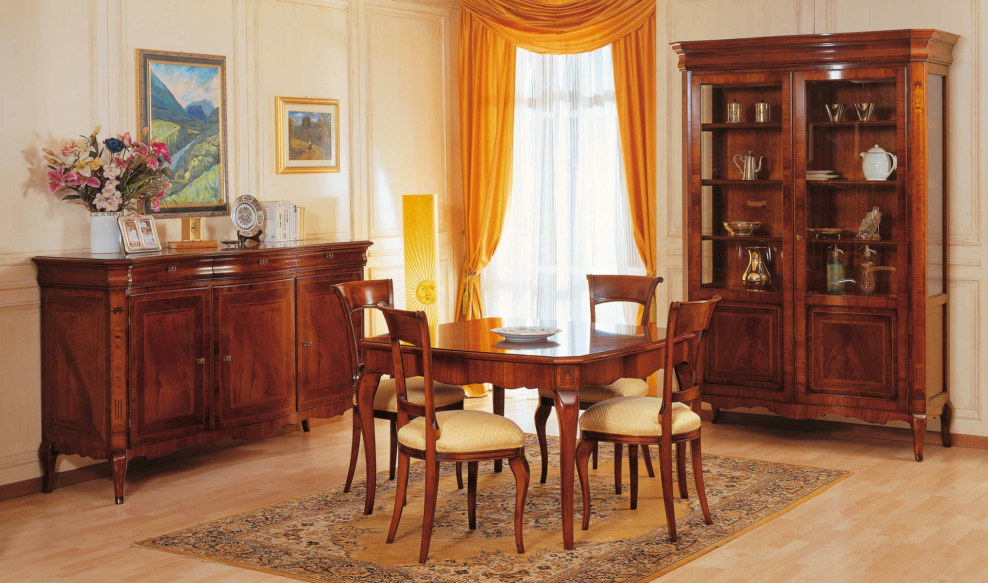french century dining room vimercati classic furniture accent style walnut finish square table with marquetry carved chairs brass hairpin legs patio coffee umbrella hole pottery