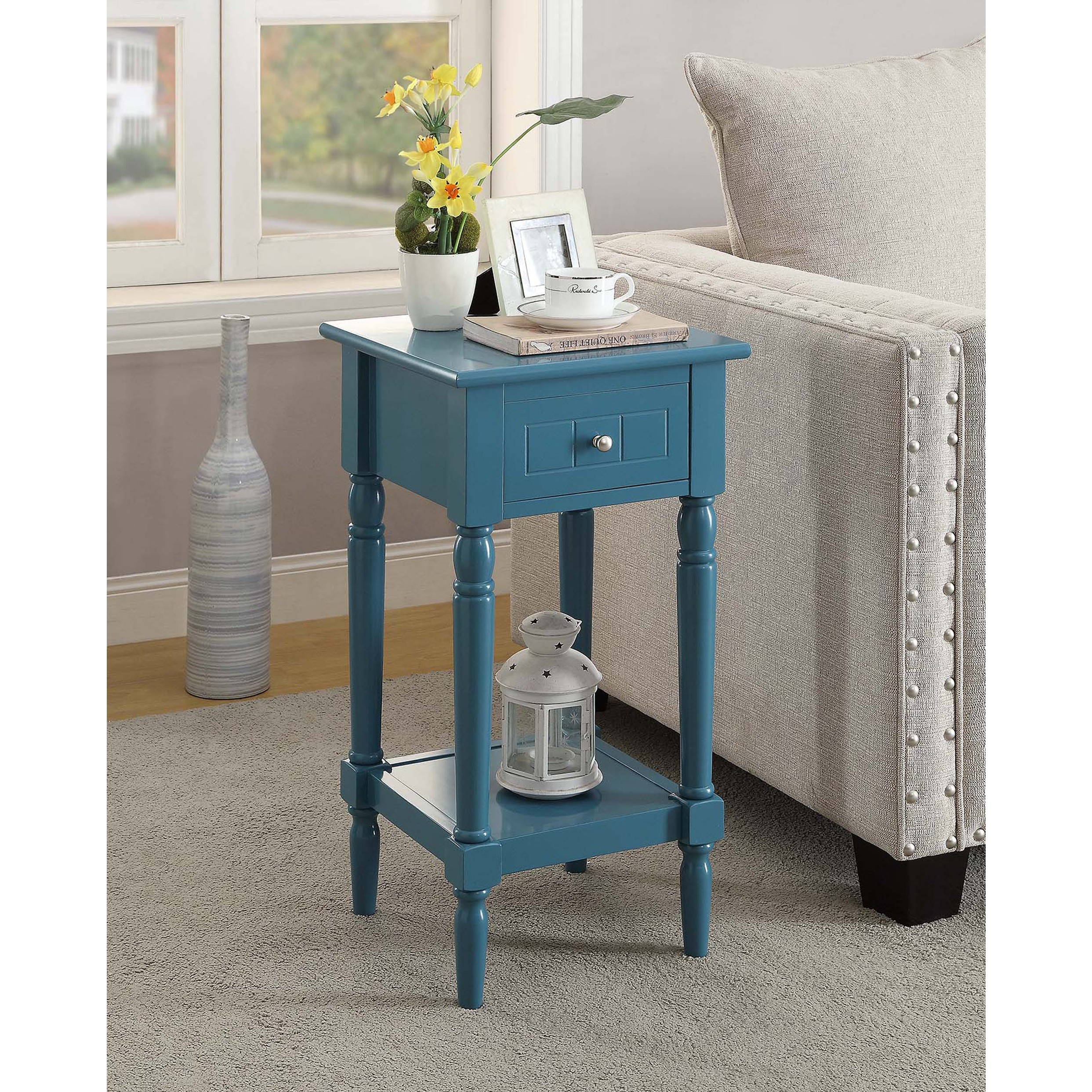 french country khloe accent table blue finish from convenience cnc resize aqua treasure trove end brown wicker bright colored coffee inch nightstand white chair round outdoor