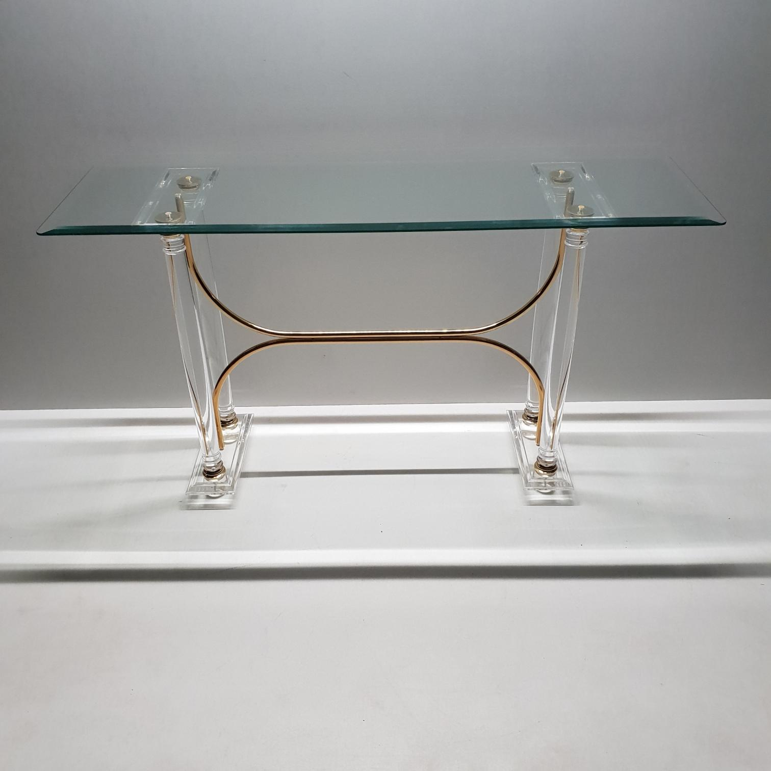 french lucite brass console table with faceted glass top master antique gold accent marble and end white piece coffee set green bedside lamps side cloth what large round cover