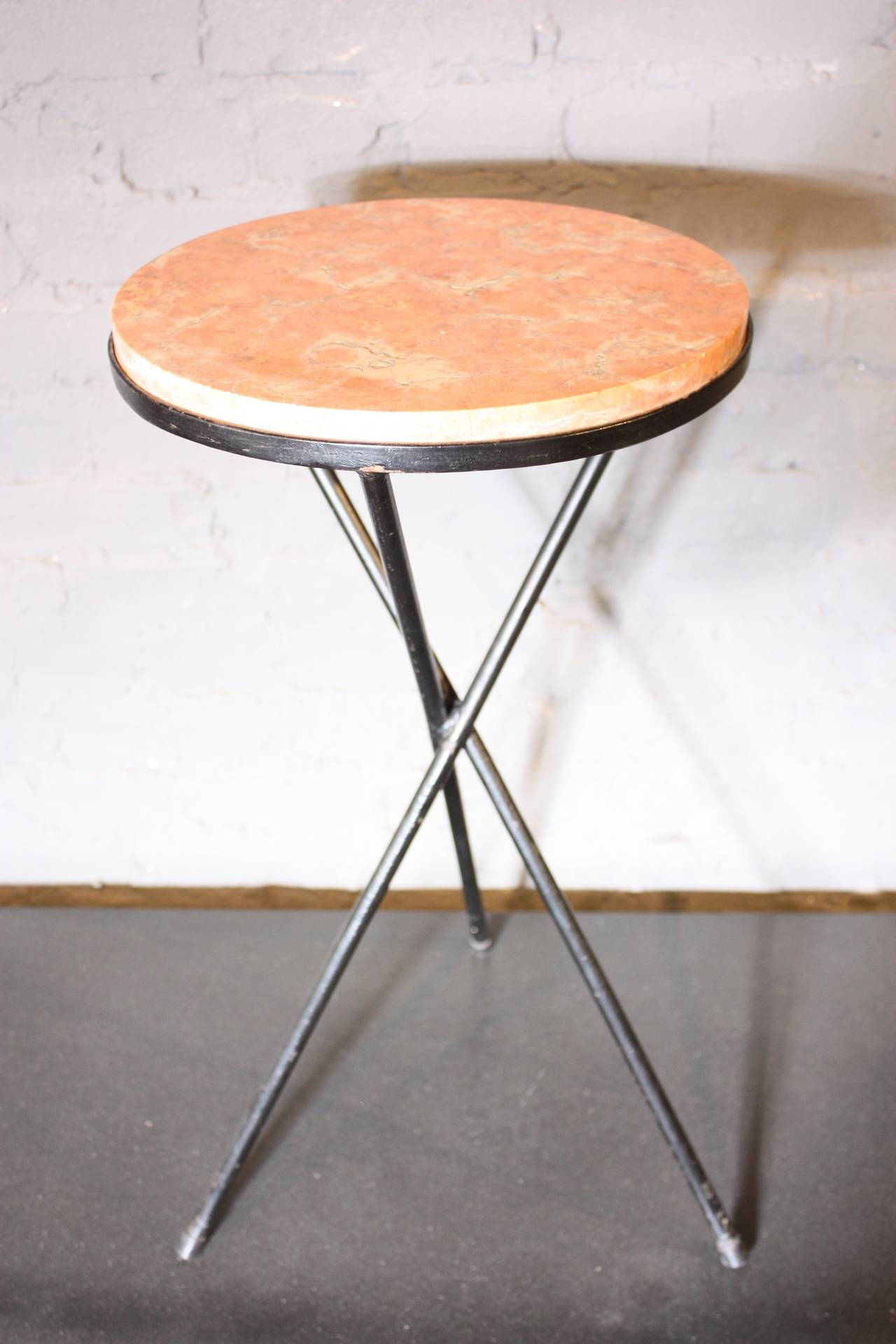 french marble top table with iron base for pink accent this features wrought tripod which cradles long narrow chest legs coffee square patio umbrella round glass dining and chairs