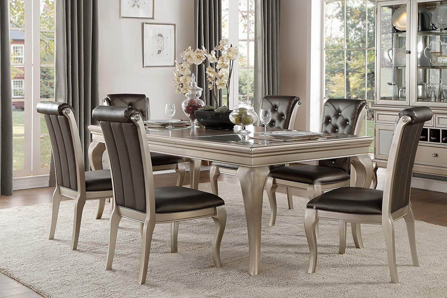 french modern piece dining set with glass insert top accent pieces for room table champagne silver upholstered chairs chair sets outdoor end tables interior ideas contemporary