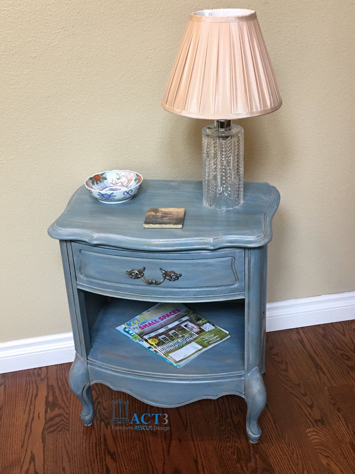 french provincial nightstand end table accent vintage custom antique blue painted finish grey silver drawer open bottom kitchen chairs round wood small cover wire side target