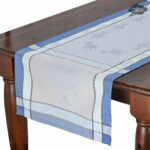 french table runners dream les tissages soleil cannes blue cotton runner sqw accent azure jacquard with teflon small armchairs for spaces outdoor bbq kitchen dining bronze drum 150x150