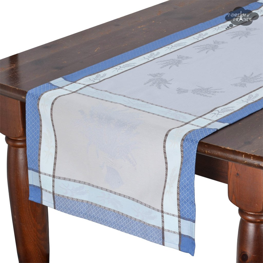 french table runners dream les tissages soleil cannes blue cotton runner sqw accent azure jacquard with teflon small armchairs for spaces outdoor bbq kitchen dining bronze drum