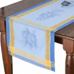 french table runners dream les tissages soleil sunflower blue cotton runner sqw accent jacquard with teflon cream coloured coffee tables side white patterns cherry wood occasional 150x150