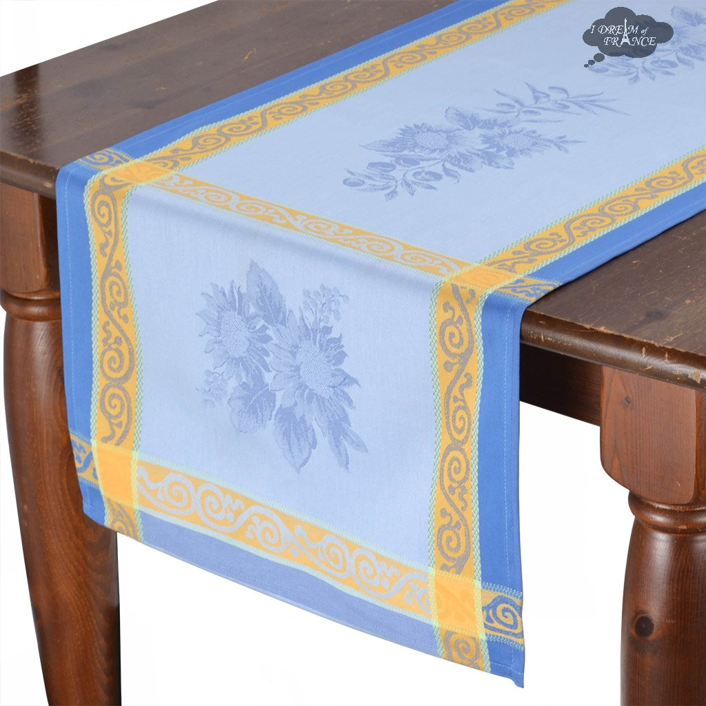french table runners dream les tissages soleil sunflower blue cotton runner sqw accent jacquard with teflon cream coloured coffee tables side white patterns cherry wood occasional