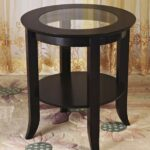 frenchi furniture wood genoa end table round side cassie accent with glass inset espresso kitchen dining target marble and gold large patio cover mimosa outdoor bunnings chairs 150x150