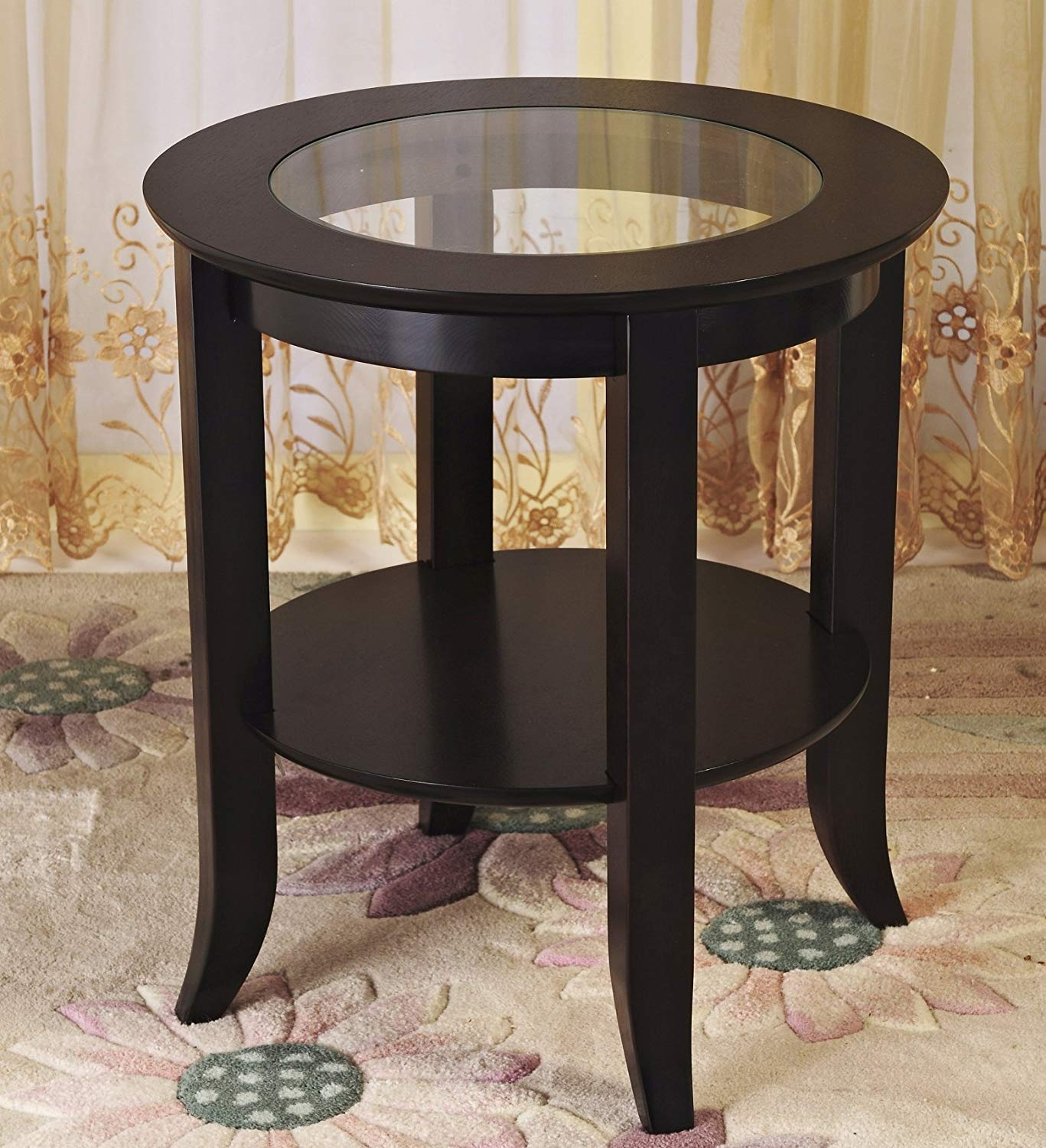 frenchi furniture wood genoa end table round side winsome cassie accent with glass top cappuccino finish inset espresso kitchen dining cordless battery lamps media room chairs dog