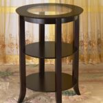 frenchi furniture wood round side accent table inset winsome cassie with glass top cappuccino finish two shelves kitchen dining end tables for small rooms couch covers shoe 150x150