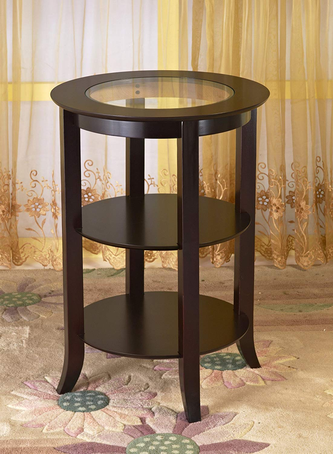 frenchi furniture wood round side accent table inset winsome cassie with glass top cappuccino finish two shelves kitchen dining end tables for small rooms couch covers shoe