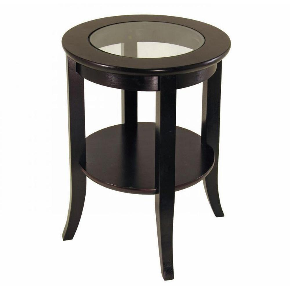 frenchi home furnishing genoa espresso end table the tables accent metal and wood round black marble top reading lamp inch runner computer desk with drawers outdoor storage