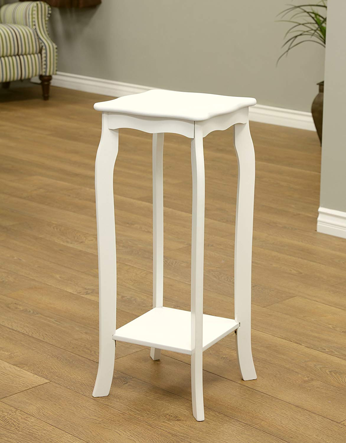 frenchi home furnishing plant stand small white sasha round accent table kitchen dining accents furniture pottery barn toscana cement low square coffee ikea wall storage bins