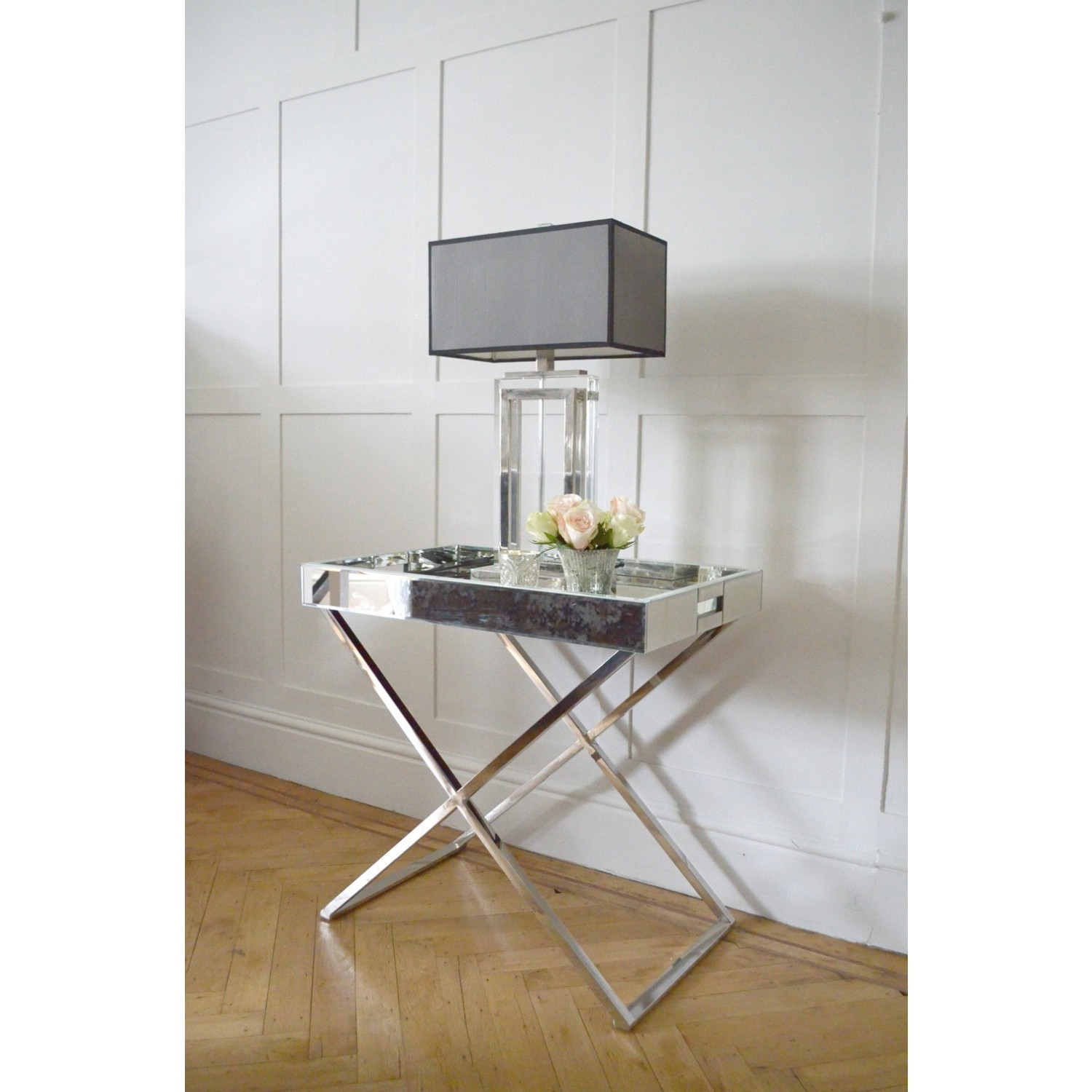 frenchies glamour mirrored side table tables round ikea monarch accent dining set black and gold console clear end target ott tabletop gas grill small telephone chair patio