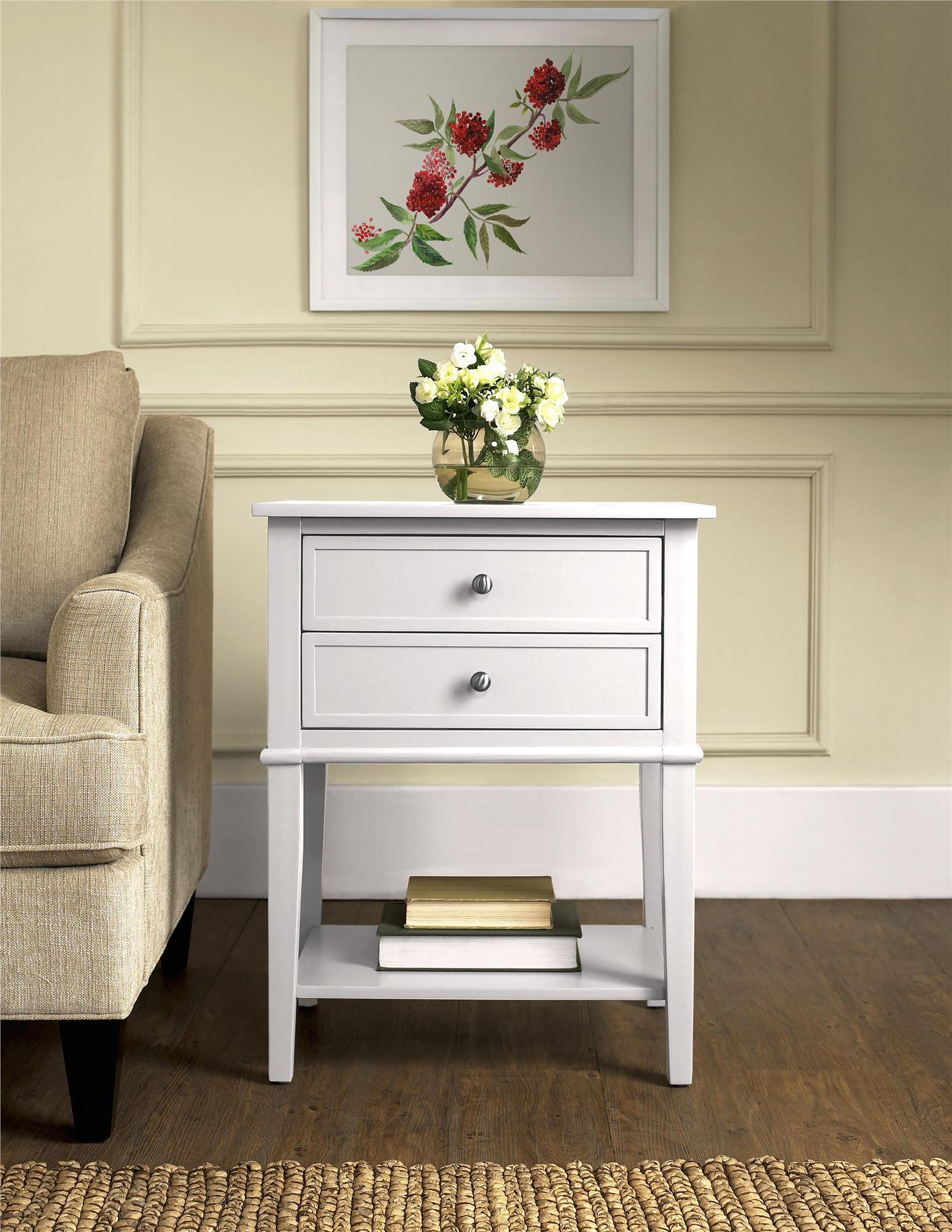 fresh white end table with drawer ana perfect diy project living room full size storage dark wood top basket magazine rack charging station glass door accent drawers and doors