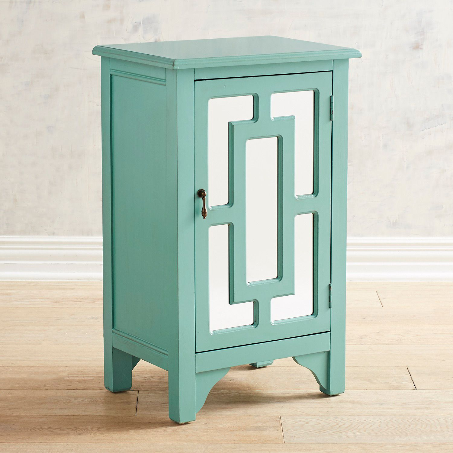 fretwork mirrored turquoise cabinet pier imports accent table cool retro furniture ikea slim modern glass coffee bags target futon mattress tall skinny side patchwork runner