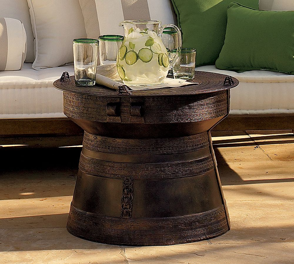 frog rain drum accent table pottery barn home decorators scribbles nightstand for with drawers antique marble top side farnichar oversized living room chair under cabinet wine