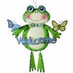 frog welcome metal sign home drum accent tables fitted round table covers vinyl wagon wheel furniture designer placemats and napkins large mirror water filter teak patio steel 150x150